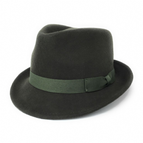 Green Trilby Hat: Handmade Wool Felt Crushable - Camden